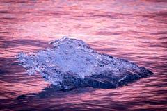 Amazing Iceland. Iceland, amazing sunset over the icebergs of the Jokulsarlon Glacier Lagoon. Ice chunk details stock images