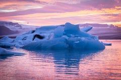 Amazing Iceland. Iceland, amazing sunset over the icebergs of the Jokulsarlon Glacier Lagoon. Long exposure and vanilla tones Stock Images