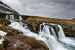 Amazing Icelandic landscape at the top of Kirkjufellsfoss waterfall Stock Image