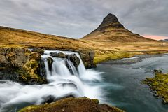 Amazing Icelandic landscape at the top of Kirkjufellsfoss waterfall Stock Photo