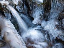 Amazing icicles on a small waterfall stock photography