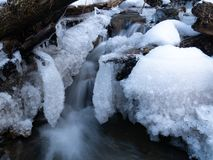 Amazing icicles on a small waterfall stock image