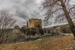 Amazing image of the castle Franchimont in ruins royalty free stock images