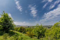 Amazing image of nature on a wonderful sunny day. With a blue sky and white clouds in Maasmechelen Belgium stock photos