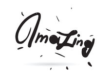 Amazing inscription. Useful for print elements and advertising. Hand drawn text. Amazing label. Hand drawn typography isolated vector Stock Photography
