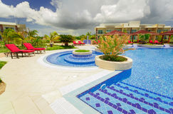 Amazing, inviting view of Pullman hotel cozy, stylish swimming pool and grounds on sunny day. Cayo Coco island, Pullman hotel, Cuba, June 28, 2016, gorgeous Stock Photography