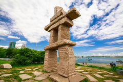 Amazing, inviting view of Toronto down town area outdoor park with natural landscape view and stunning inuksuk sculpture. Toronto, Ontario, Canada, June 16, 2017 Stock Images