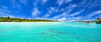Amazing island and pristine beach in Maldives. Beautiful island and pristine beach in Maldives Royalty Free Stock Photo