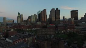 Amazing 4k aerial drone panorama of modern urban Boston downtown district architecture skyscrapers in evening sunset. Amazing aerial drone panorama of modern stock footage