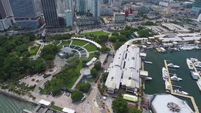 Amazing 4k drone aerial on urban downtown modern architecture skyscrapers city center of Miami Florida skyline cityscape stock footage