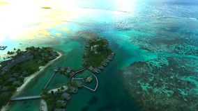Amazing 4k drone seascape view on turquoise Pacific ocean water coral reef on Tahiti island archipelago French Polynesia. Amazing drone seascape view on stock video