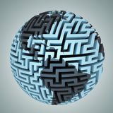 Amazing labyrinth planet shape focused on america Stock Photography