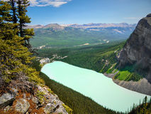 Amazing Lake Louise View, Banff NP. An amazing view of Lake Louise and surrounding area from the Big Beehive. Banff NP, Canada Royalty Free Stock Photos