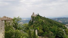 Ancient italian castle landscape with big towers. Amazing landscape with ancient castle with big towers in marche region, italy royalty free stock images