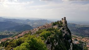 Ancient italian castle landscape with big towers. Amazing landscape with ancient castle with big towers in marche region, italy royalty free stock photos