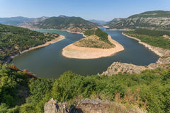 Amazing landscape of Arda River meander and Kardzhali Reservoir Royalty Free Stock Photos