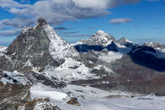 Amazing landscape around mount Matterhorn, Alps Stock Photo