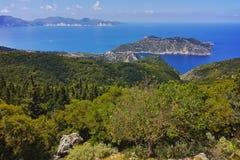 Amazing Landscape of Assos village and beautiful sea bay, Kefalonia Stock Images