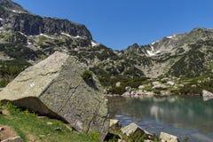 Amazing Landscape with Banski lakes and Small Polezhan peak, Pirin Mountain. Bulgaria royalty free stock photography