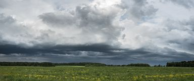 amazing landscape of the beautiful meddow under the stormy sky Royalty Free Stock Image