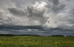 amazing landscape of the beautiful meddow under the stormy sky Stock Images