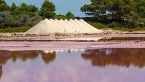 Amazing landscape of the beautiful salt flats at Colonia de Sant Jordi, Ses Salines, Mallorca, Spain. Summer time Royalty Free Stock Photo