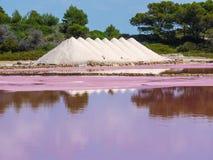 Amazing landscape of the beautiful salt flats at Colonia de Sant Jordi, Ses Salines, Mallorca, Spain. Summer time Stock Image