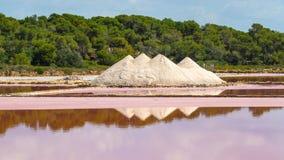 Amazing landscape of the beautiful salt flats at Colonia de Sant Jordi, Ses Salines, Mallorca, Spain. Summer time Stock Photo