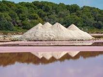 Amazing landscape of the beautiful salt flats at Colonia de Sant Jordi, Ses Salines, Mallorca, Spain. Summer time Royalty Free Stock Image