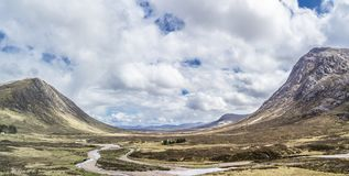 The amazing landscape between Beinn a`Chrulaiste and Buachaille Etive Mor Royalty Free Stock Photo