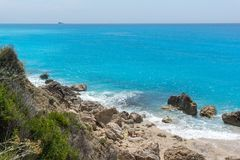 Amazing landscape of blue waters of Megali Petra Beach, Lefkada, Greece Royalty Free Stock Photo