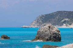 Amazing landscape of blue waters of Megali Petra Beach, Lefkada, Greece Royalty Free Stock Images