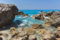 Amazing landscape of blue waters of Megali Petra Beach, Lefkada, Greece Royalty Free Stock Image