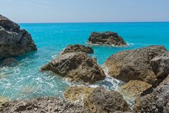 Amazing landscape of blue waters of Megali Petra Beach, Lefkada, Greece Royalty Free Stock Photography