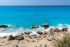 Amazing landscape of blue waters of Megali Petra Beach, Lefkada, Greece Stock Photo