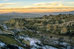 Amazing landscape of the Cappadocia by sunset, Turkey royalty free stock images