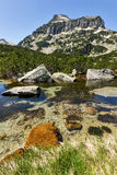 Amazing Landscape of Dzhangal peak and Banski lakes, Pirin Mountain Stock Image