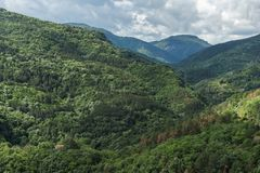 Amazing landscape of Green Hills near town Asenovgrad in Rhodope Mountains, Bulgaria Royalty Free Stock Images
