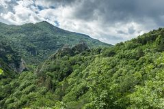 Amazing landscape of Green Hills near town Asenovgrad in Rhodope Mountains, Bulgaria Royalty Free Stock Image