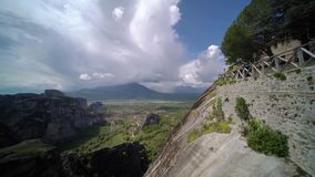 Amazing landscape of green valley Meteora stock video footage