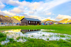 Amazing landscape in Iceland with mountains and geothermal hot springs. Landmannalaugar campsite area. Fjallabak Nature Reserve.  stock images