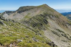 Amazing Landscape of Kadiev rid peak from Dzhano peak, Pirin Mountain. Bulgaria Stock Image