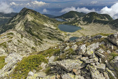 Amazing landscape of Kremenski lakes from Dzhano peak, Pirin Mountain Stock Photography