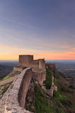 Amazing landscape from Marvao medieval castle at Sunset Royalty Free Stock Images