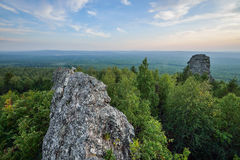 Amazing landscape with mountain range and beautiful blue sky at sunset, Russia, Ural, Europe - Asia boundary Royalty Free Stock Photography