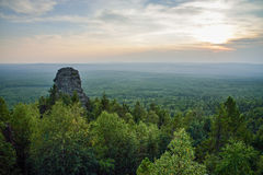 Amazing landscape with mountain range and beautiful blue sky at sunset, Russia, Ural, Europe - Asia boundary Stock Images