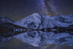 Amazing  landscape with mountains and stars. Reflection of Royalty Free Stock Photos