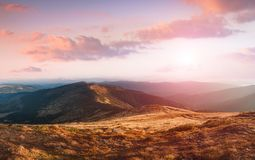 Amazing landscape in the mountains at sunrise. royalty free stock image