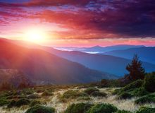 Amazing landscape in the mountains at sunrise. royalty free stock images