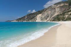 Landscape of Myrtos beach, Kefalonia, Ionian islands, Greece Royalty Free Stock Photo